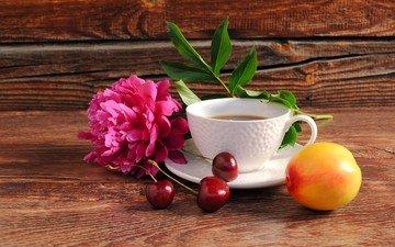 цветок, кофе, абрикос, ягоды, вишня, чашка, плоды, натюрморт, пион, композиция