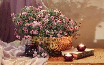цветы, свечи, стол, ткань, корзина, книга, натюрморт, скатерть, астры