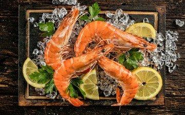 зелень, лёд, лимон, морепродукты, креветки
