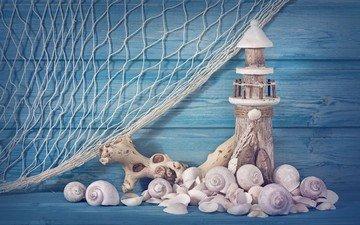 маяк, ракушки, сеть, композиция, сувенир