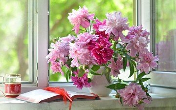 цветы, лето, окно, ваза, стакан, книга, перо, тетрадь, подоконник, пионы, дневник