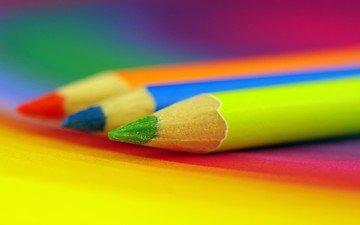 фон, разноцветные, цвет, карандаши, цветные карандаши