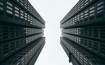 black and white, skyscrapers, architecture, the building, windows, facade, bottom view