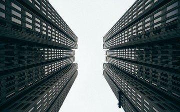 чёрно-белое, небоскребы, архитектура, здание, окна, фасад, вид снизу