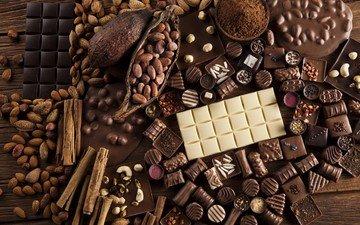 орехи, корица, конфеты, шоколад, сладкое, миндаль, пряности, ассорти, шоколадные конфеты, ассортимент, шоколад какао