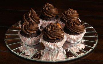 шоколад, сладкое, десерт, кексы, капкейк, крем, капкейки