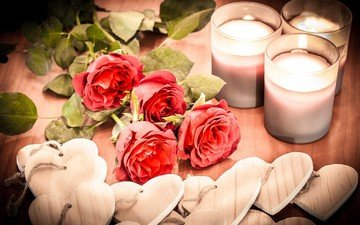 flowers, candles, roses, hearts, valentine's day, composition, valentines