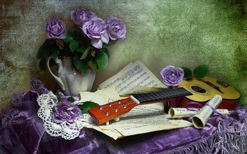 flowers, guitar, roses, notes, bouquet, vase, napkin, still life, tablecloth, fringe