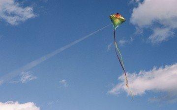 небо, облака, воздушный змей, свобода, летучий змей