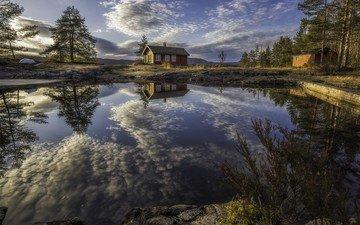 облака, деревья, озеро, отражение, дома, дом, норвегия, рингерике