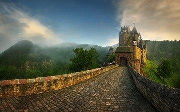 the sky, road, clouds, hills, fog, castle, germany, pavers, eltz castle, krzysztof browko