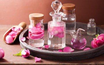 цветы, розы, лепестки, масло, розовые цветы, спа, натюрморт