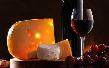 орехи, виноград, бокал, сыр, вино, бутылка