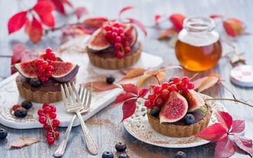 ягода, фрукты, сладости, черника, мед, выпечка, красная смородина, десерт, тарталетки, инжир