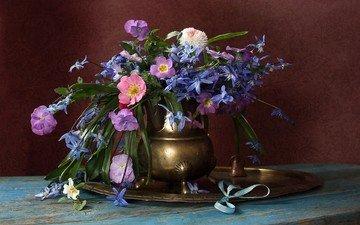 цветы, букет, ваза, натюрморт
