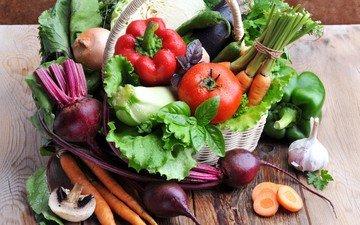 зелень, грибы, лук, корзина, урожай, овощи, баклажан, корзинка, помидоры, морковь, натюрморт, перец, чеснок, кабачок, свекла
