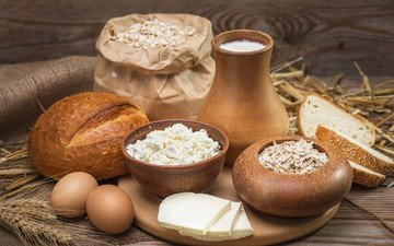 колосья, сыр, хлеб, яйца, молоко, выпечка, творог, овсянка, молочные продукты