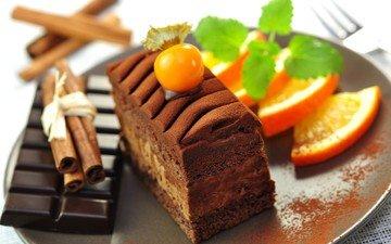 мята, корица, апельсин, шоколад, физалис, пирожное