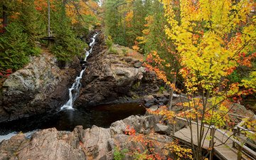 река, скалы, природа, лес, водопад, осень