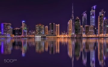 night, lights, reflection, the city, dubai, uae, david gomes