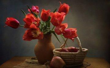 цветы, яблоки, букет, тюльпаны, корзинка, мешковина