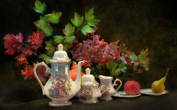 листья, ветки, фрукты, блюдце, ягоды, яблоко, плоды, посуда, тыква, натюрморт, груша, калина, фарфор, кофейник, сахарница, соусник
