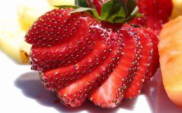 макро, ягода, клубника, дольки, нарезка