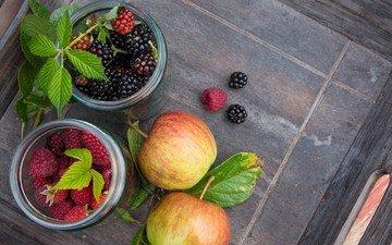 листья, малина, фрукты, яблоки, ягоды, плоды, ежевика