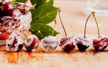 листья, лёд, черешня, ягоды, вишня, вазочка
