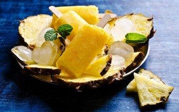 мята, мороженое, лёд, сердечки, сладкое, десерт, ананас