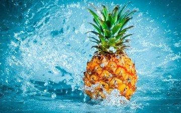 вода, капли, брызги, ананас