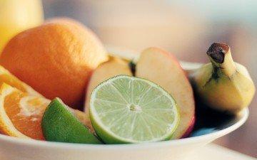 фрукты, апельсин, яблоко, лайм, банан, цитрусы, нарезка