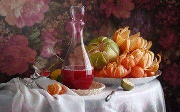 напиток, фрукты, ткань, апельсин, лайм, нож, мандарин, натюрморт, скатерть, цитрусы, графин, сок, блюдо, помело