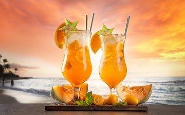 мята, море, пляж, фрукты, бокал, апельсин, коктейль, дыня, кумкват, карамбола, карамболь