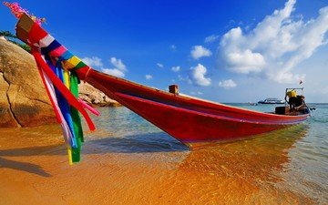 небо, берег, море, песок, лето, лодка, таиланд, тропики