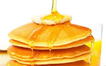 масло, мед, выпечка, блинчики, блины