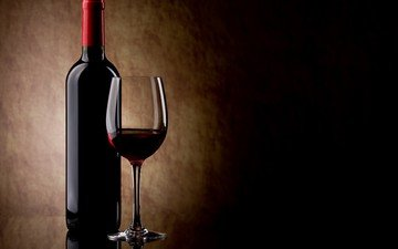 бокал, вино, бутылка, красное вино