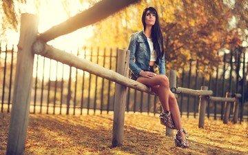 девушка, брюнетка, взгляд, осень, забор, сидит, волосы, джинсовка