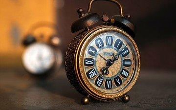 винтаж, часы, время, стрелки, будильник