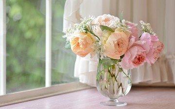 цветы, розы, букет, окно, ваза, подоконник