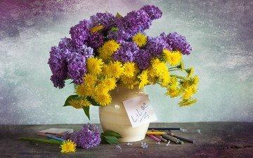 цветы, карандаши, букет, одуванчики, ваза, сирень, композиция