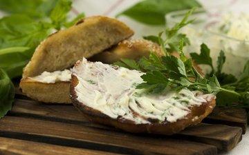 зелень, бутерброд, масло, хлеб, петрушка