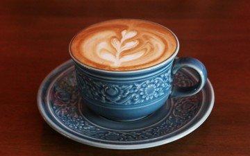 узор, кофе, чашка, капучино, пенка