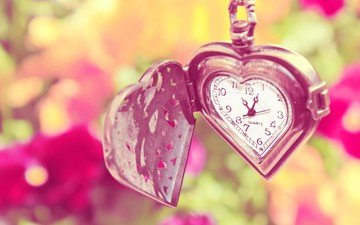 macro, heart, watch, time, pendant, dial, serdechko