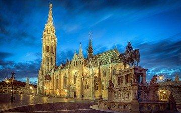 вечер, собор, церковь, памятник, площадь, венгрия, будапешт