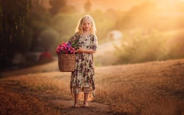 flowers, children, girl, hair, face, basket, edie layland
