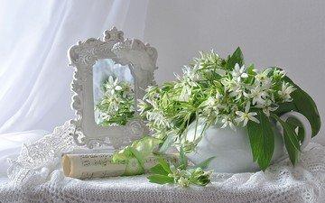 цветы, отражение, ноты, зеркало, белые, натюрморт, кружева, скатерть, занавеска