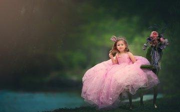 цветы, платье, дети, девочка, волосы, лицо, кресло, корона, принцесса