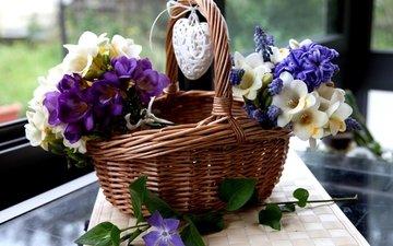 цветы, сердце, корзина, гиацинты, мускари, фрезия, барвинок