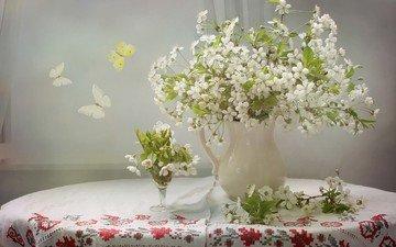 цветы, ветки, вышивка, вишня, бабочки, кувшин, скатерть, мотылек